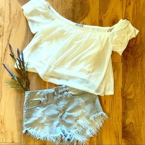 Off the Shoulder Sheer Crop Top